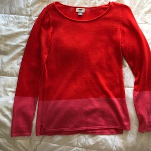 Orange and Pink color block sweater
